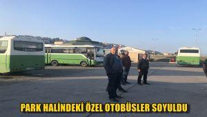 Park halindeki özel halk otobüsler soyuldu