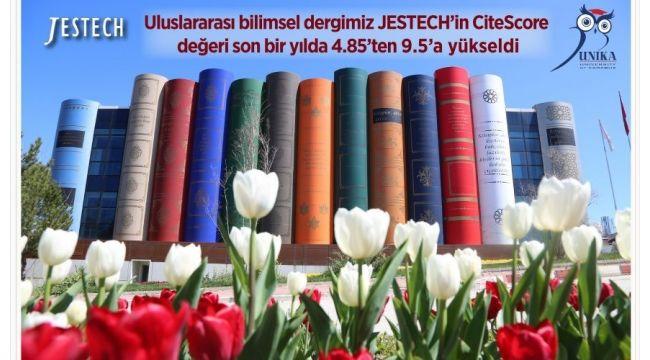 KBÜ'nün uluslararası bilimsel dergisi JESTECH'in CiteScore değeri 9.5'a yükseldi