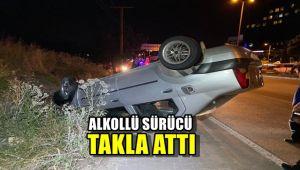170 promil alkollü sürücünün kullandığı otomobil takla attı