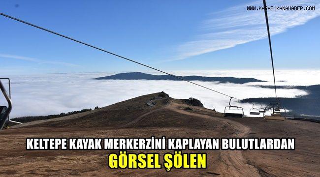 Keltepe Kayak Merkezi'ni kaplayan bulutlardan görsel şölen