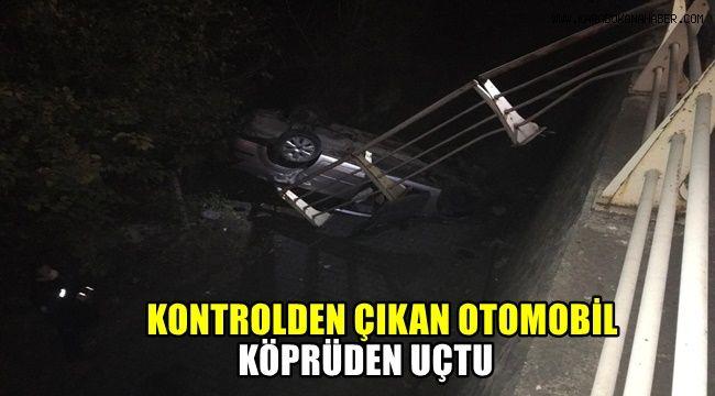 Kontrolden çıkan otomobil köprüden uçtu: 3 yaralı