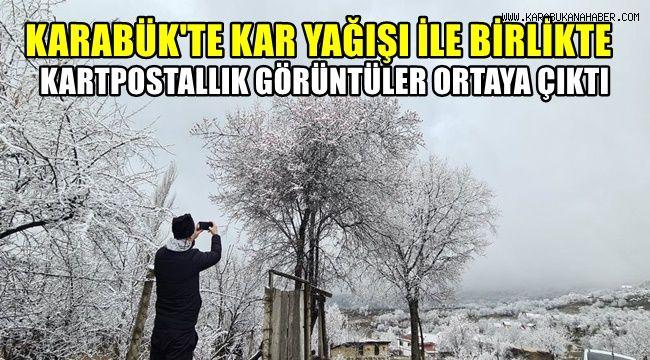 Karabük'te kar yağışı ile birlikte kartpostallık görüntüler ortaya çıktı