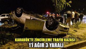 Karabük'te zincirleme trafik kazası: 1'i ağır 3 yaralı