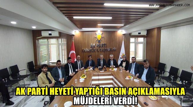 AK Parti Heyeti yaptığı basın açıklamasıyla müjdeleri verdi